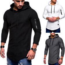 Hommes Sweat Capuche Manches Longues à T-Shirt Slim Fit Sport à Décontracté