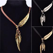 Collana vintage in bronzo con corda e catena pendente in piuma