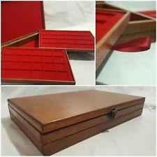 Cofanetto Superior Castagno e Rosso con 2 vassoi in legno per monete Coins&More