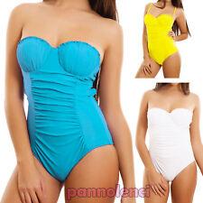 Monokini donna costume da bagno intero arricciature push up mare nuovo XK16837