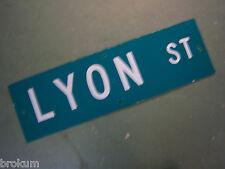 "Vintage ORIGINAL LYON ST STREET SIGN 30"" X 9"" WHITE LETTERING ON GREEN"