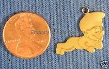 6pc Raw Brass Solid Lazy Smurf Cartoon Charms 6157
