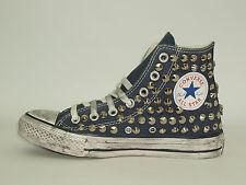 Converse all star Hi borchie teschi  scarpe donna uomo blu artigianali