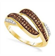 10K Yellow Gold Chocolate Brown & White Diamond Ring .33ct Open Twist Design