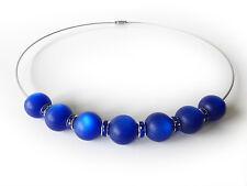 A Sign *Blue Pearl* Edelstahl Halsreif/Kette Kristall & Harz Perlen blau 45&52cm