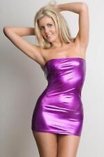 Sexy Micro Mini Dress - 3 Colours - Black Red Purple- Metallic Strapless Shiny