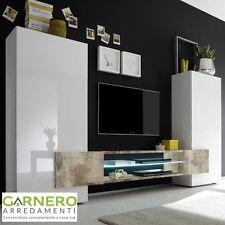 Mobile porta TV alto INCASTRO bianco lucido cemento o pero o nero design moderno