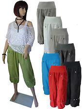 Lagenlook Kurze Hose Leinenhose 3/4 Hose Sommerhose Gr.M L XL XXL XXXL Italien