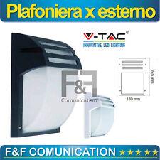 PLAFONIERA APPLIQUE ESTERNO E27 NERO BIANCO ALLUMINIO RESISTENTE 24 X 18 CM V-TA