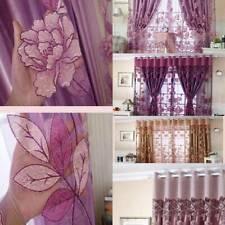 Lotus Flower Voile Window Curtain Drape Panel Sheer Curtains Home Decor ONE