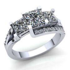 fcc8dc3afc72 2carat Diamante Talla Princesa Mujer Pasado Presente y Futuro Anillo de
