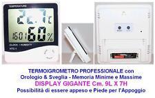 TERMOIGROMETRO TERMOMETRO & IGROMETRO PROFESSIONALE con DISPLAY GIGANTE Cm.9Hx7L