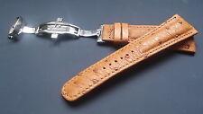 Bracelet montre en autruche en 24mm avec boucle deployante