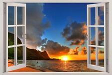 Ocean Beach At Sunset 3D Window View Decal WALL STICKER Decor Art Exotic Mural