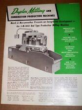 Vtg Motch & Merryweather Catalog~Duplex Milling Machine