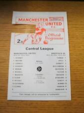 21/08/1978 Manchester United Reserves v Sheffield Wednesday Reserves  (Token Mis