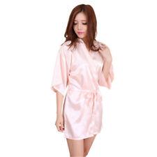 Short Women Plain Satin Robe Dressing Gown Bridal Wedding Bride Kimono robe