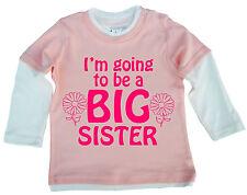 "NUEVO HERMANA Top"" I'm Going To Be A BIG SISTER"" Lindo Bebé Niña Top Patinadora"