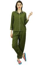 Bimba Button-Down Shirt mit elastischem Taille Pyjama Hose 2 Stk