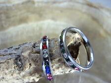 4 mm Edelstahl Fingerring mit bunten Zirkonia Steinchen Ring SIZE 17-22 mm