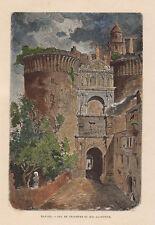 1840 Napoli  maschio Angioino xilografia acquarellata