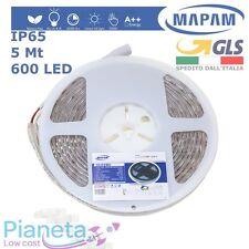 Striscia 600 LED 5 mt da esterno/inter IP65 Bianco Caldo Freddo Naturale Mapam