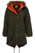 Women's Fishtail Fur Hooded Parka Jacket Ladies Khaki Quilted PVC Contrast Coat