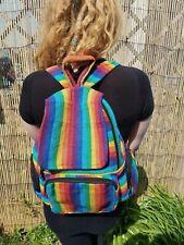 Unisex Black Purple Rainbow Stripe Backpack, Rucksack Bag Hippy Boho Festival