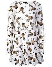 Ladies/Women Christmas White Rudolph Long Sleeve Swing Dress