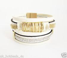 Leather rhinestone magnetic cuff bracelet gold crystal metal wrapped bracelet