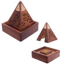 Sheshamholz Pyramide Räucherkegelbox mit Buddha