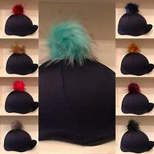 SXC SPLENDIDA pelliccia pon pon Equitazione Cappello seta Copertura Made in UK di qualità superiore