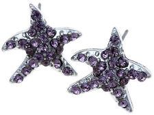 Purple Crystal Star Earrings