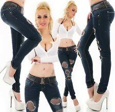 Damen Hüft Jeans Hose Skinny Röhrenjeans Destroyed Risse Netz Gürtel XS S M L XL