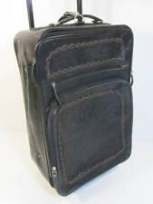 Hand Tooled Black Leather Suitcase Luggage Rolling Wheeled