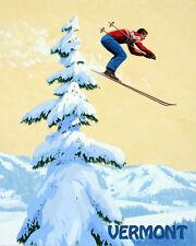 """Ski Vermont Man Jumping Skiing Lake Winter Sport 16""""X20"""" Vintage Poster FREE S/H"""