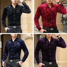 Men Floral Print Velvet Long Sleeved Shirt Soft Winter Turn Down Collar Top Slim