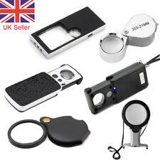 Pocket Magnifier Glass 3X5X 6X 10X 30X 60X 90X Jeweller LED Magnifying Eye Loupe