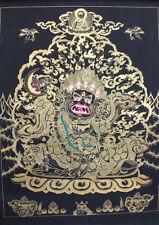 Black Mahakala Gold Toned Thangka Painting 77x54 CM