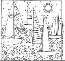 Rug Hook Paper Pattern 5 SAILBOATS & A BIRD Folk Art Abstract Primitive KARLA G