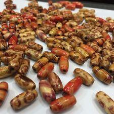 20 / 50 / 100x Holz Perlen farbige bunt - 15x7mm - Mix - Kugeln Schmuck Basteln