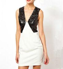 NWT $129 Designer ASOS Tuxedo Sequin Plunge CREPE Dress - Fully Lined Petite