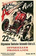 1932 Allgemeiner Deutscher Automobil-Club Auto Race - Program Cover Poster
