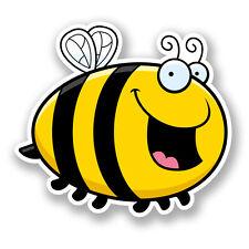 2 x 10cm Happy Honey Bee Sticker Car Bike Laptop Helmet Roller Derby Wasp #5897