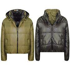 Girls Jackets Kids Olive Reversible Cropped Hooded Padded Puffer Jacket Coat5-13