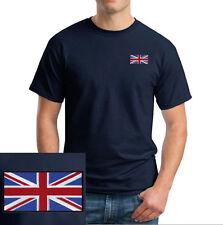 British Flag EMBROIDERED Navy Blue T-Shirt England UK *NEW*