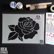 Grande Rosa Cabeza Estarcido Pintura paredes Tela Muebles REUTILIZABLE