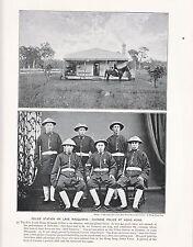 1897 VICTORIAN PRINT ~ POLICE STATION ON LAKE MACQUARIE CHINESE POLICE HONGKONG
