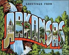 POSTER GREETINGS FROM ARKANSAS WATERFALLS USA TRAVEL VINTAGE REPRO FREE S/H