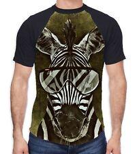 Zebra with Glasses Men's All Over Baseball T Shirt - Animals Black White Funny